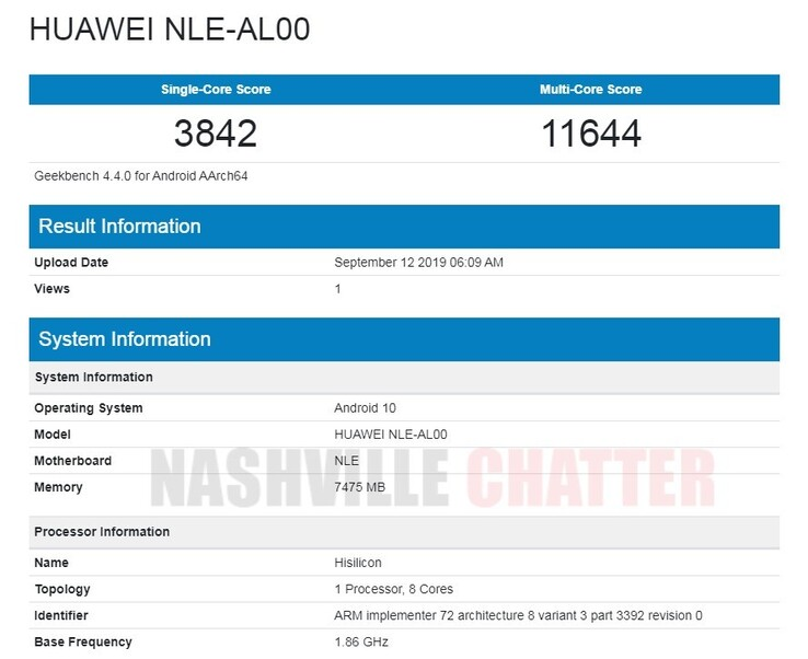 The putative NLE-AL00's Geekbench scores. (Source: Nashville Chatter)