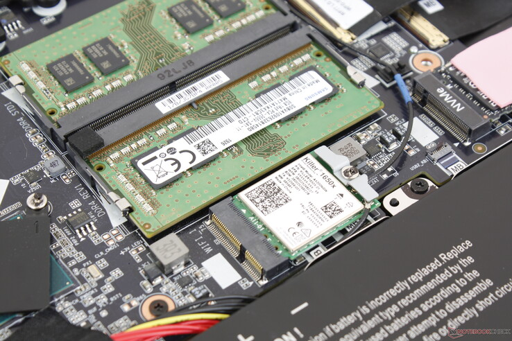 Removable Killer 1650x module sits adjacent to the RAM