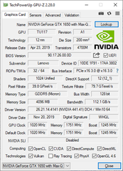 The GeForce GTX 1650 Max-Q in the Yoga C940-15IRH. (Image source: Notebookcheck)