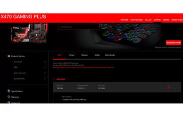 New microcode update for the MSI X470 Gaming Plus. (Source: MSI)