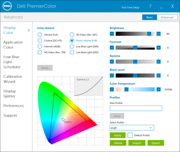PremierColor settings used for colorimeter measurements