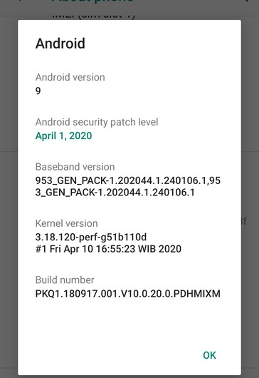 Xiaomi Mi A1 April 2020 new firmare details (Source: Own)