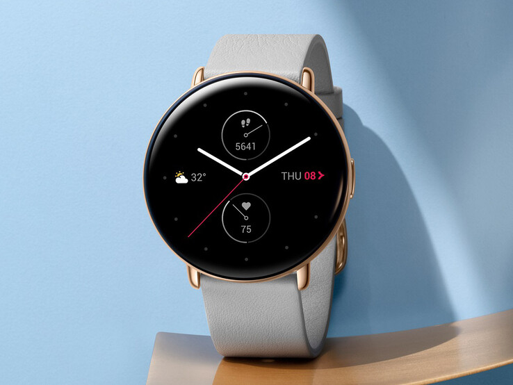 Zepp E, the circular model. The stylish smartwatch is also available with a square borderless display instead.