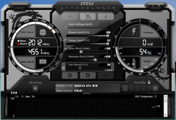 MSI Afterburner: GeForce GTX 1070 overclocking – GPU clock speed + 100 MHz; VRAM + 550 MHz
