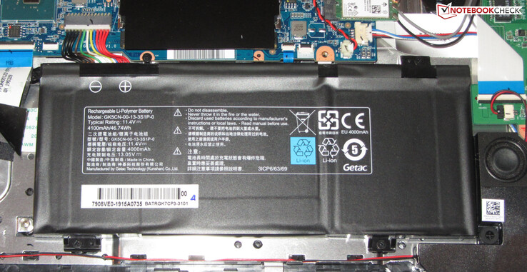 The battery offers a capacity of 46.74 Wh.