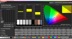 CalMAN: ColorChecker before calibration (AdobeRGB target color space)