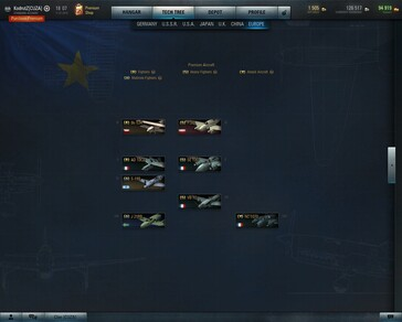 World of Warplanes 2.1 Europe tech tree (Source: Own)