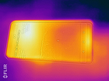Heat-map of the front of the device under maximum load