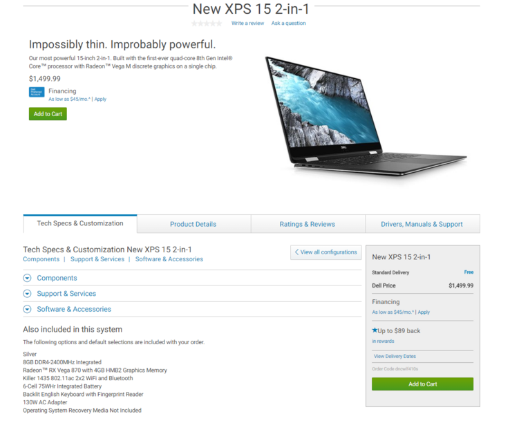Screenshot of the XPS 15 2-in-1 order page. (Source: Dell)