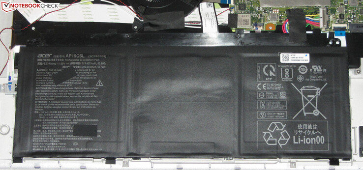 The battery has a capacity of 53.9 Wh