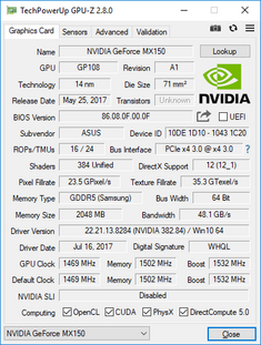 "Asus Zenbook UX430UN with ""standard"" '1D10' 'N17S-G1-A1' GeForce MX150."
