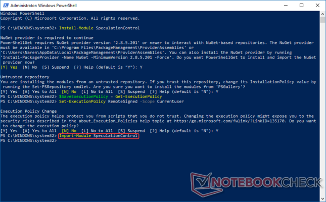 Import the SpeculationControl module into PowerShell.