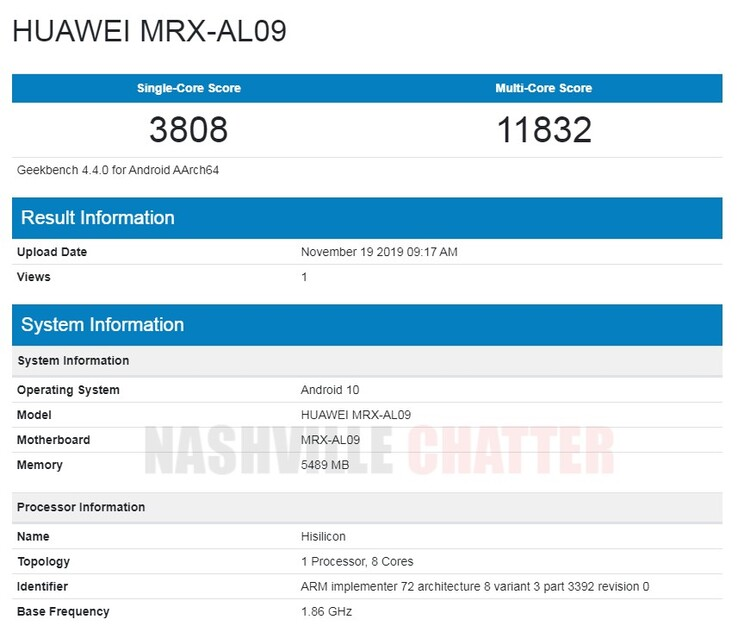 The first MRX-AL09 entry on Geekbench 4. (Source: NashvilleChatter)
