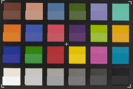 A photograph of the ColorChecker colors. The lower half of each patch shows the reference color.