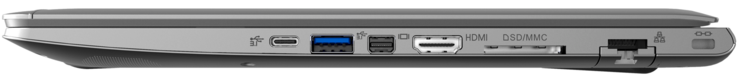 Right: 1x Thunderbolt 3, 1x USB 3.1 Gen1, Mini Display Port, HDMI, 6-in-1 card reader, LAN, Kensington Lock