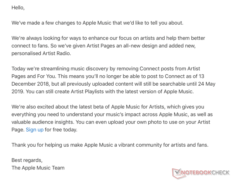 A screenshot of the email sent to artists. (Source: Notebook Check)