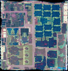 This die shot of the Samsung Exynos 9820 shows the various integrated cores. (Source: ChipRebel)