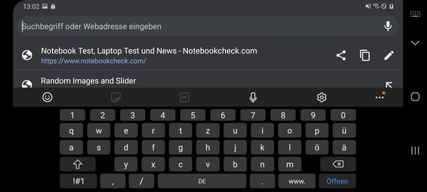 Using the default keyboard app in landscape mode