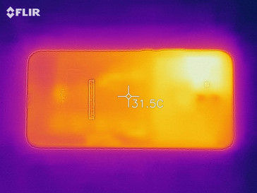 Heatmap of the rear of the device under sustained load