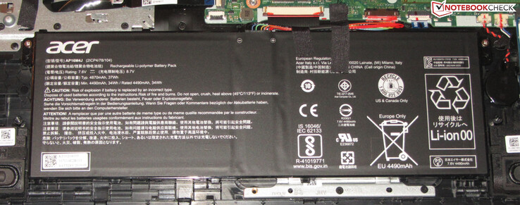 The battery has a total capacity of 37 Wh