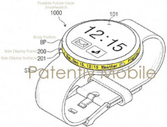 Upcoming Samsung Gear watch with rotary dial display shown in a patent filing