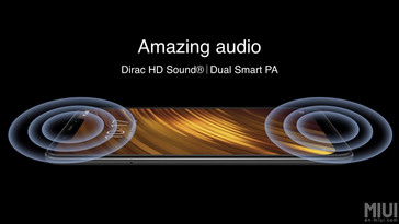 The Poco F1 features Dirac HD audio and stereo speakers. (Source: Xiaomi)
