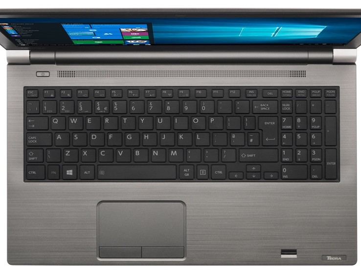 A look at the keyboard deck on the Toshiba Tecra A50-E-110