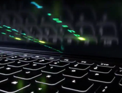 The laptop in the clip has revealed a secret. (Source: Twitter/Nvidia GeForce)
