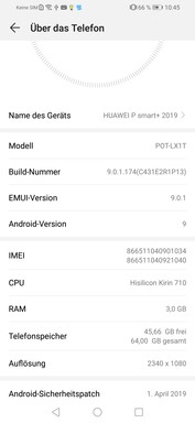 Software Huawei P Smart Plus (2019)