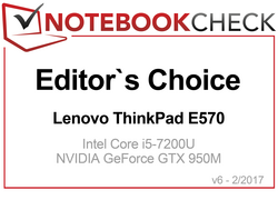 Editors' Choice Award in April 2017 for the ThinkPad E570