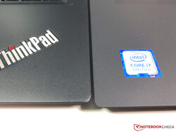 Different surfaces on the T490s (left) and T490 (right)