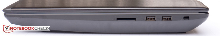 Right side: SD card slot, 2x USB 3.0 Type-A, Kensington lock