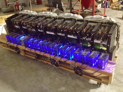 An 18-card Ethereum mining rig pushed to its limits. (Source: Ethereum.org)