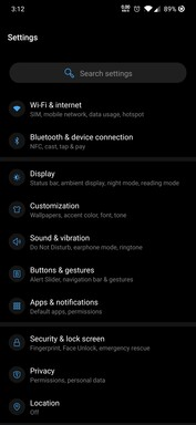 Settings page in Android 10.