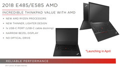 Lenovo ThinkPad E485 / E585: Affordable Ryzen Mobile ThinkPads to be released in April
