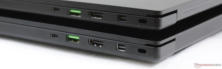 Right: Thunderbolt 3, USB 3.1 Type-A, HDMI 2.0, mDP 1.4, Kensington Lock