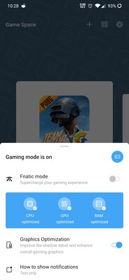 Gaming mode settings.