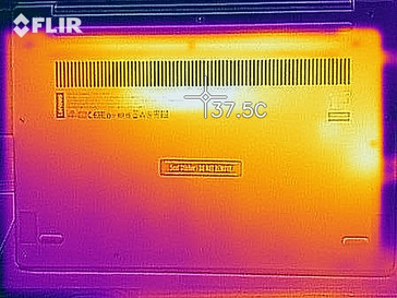 Bottom case surface temperatures at idle