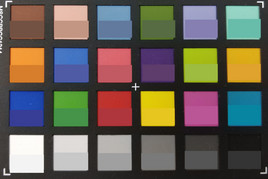 ColorChecker Colors. Bottom half of each square contains the reference color.