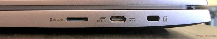 Right: microSD, USB 3.1 Gen 1 Type-C (with power and display), Kensington lock