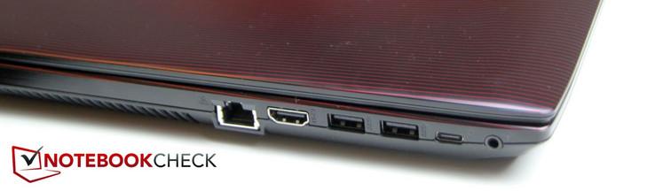 Left: LAN, HDMI, 2x USB-3.0 Type-A, USB 3.0 Type-C, headphone/microphone jack