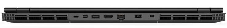 Phía sau: USB 3.1 Gen 1 Type-C, mini DisplayPort, USB 3.1 Gen 1 Type-A, HDMI, Gigabit LAN, đầu nối nguồn, khe khóa Kensington