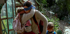 YouTube pranksters have been blindly following Sandra Bullock's character's predicament in Bird Box. (Source: Bluegrass/Netflix)
