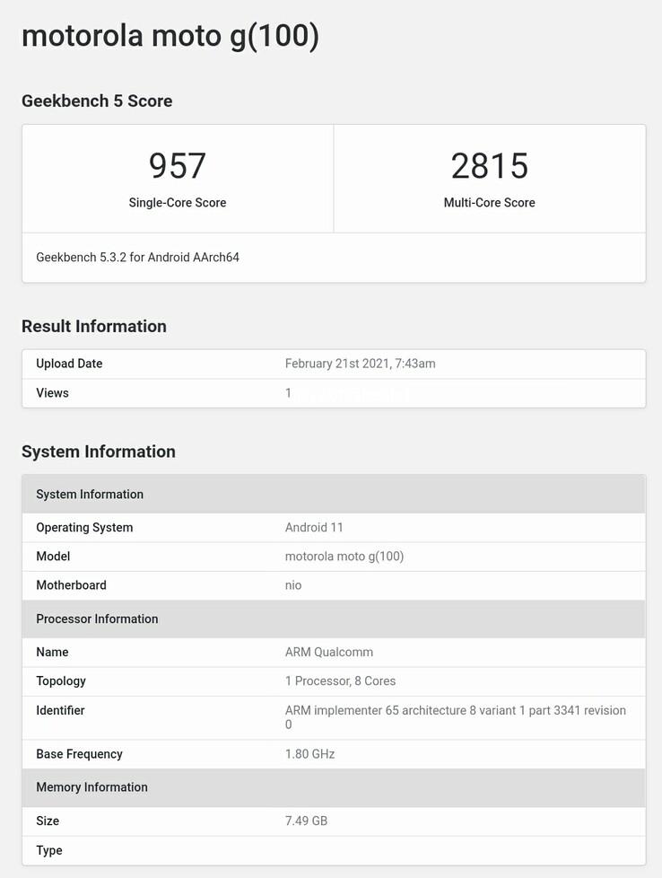Moto G100 on Geekbench (image via Abhishek Yadav on Twitter)