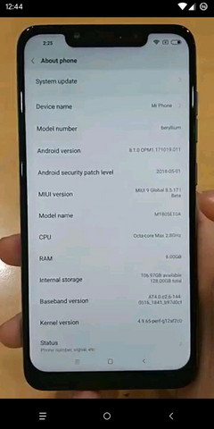 Leaked image of the Xiaomi Poco F1. (Source: @bang_gogo_ on Twitter)