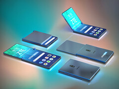 Renders of potential ZTE foldable smartphone with clamshell form factor. (Source: LetsGoDigital)
