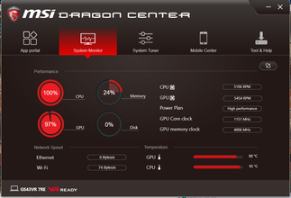 MSI Dragon Center controls everything about the laptop from its performance to its RGB keys