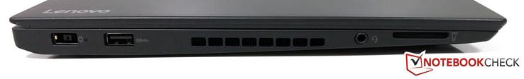 Left side: Power adapter, USB 3.0, 3.5 mm audio, card reader