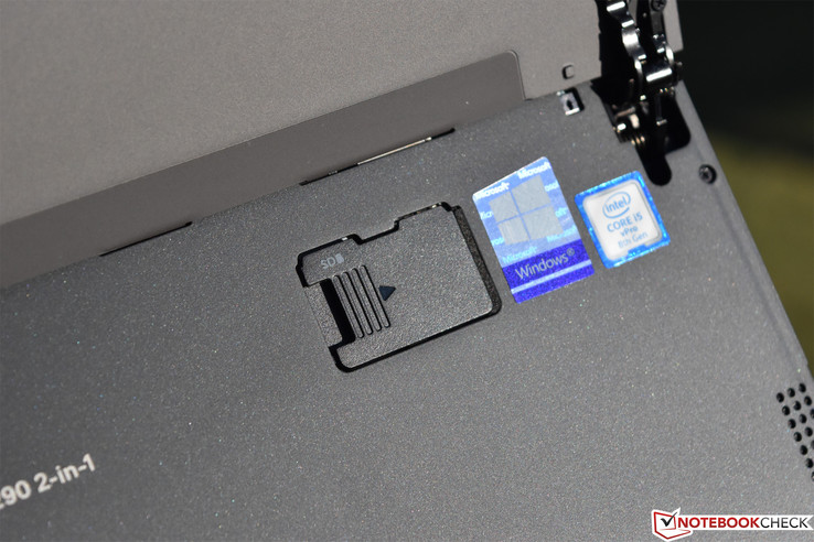 The card reader hides beneath the kickstand for secure (semi-permanent) installation of a card