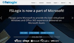 FSLogix website homepage showing the news about joining Microsoft